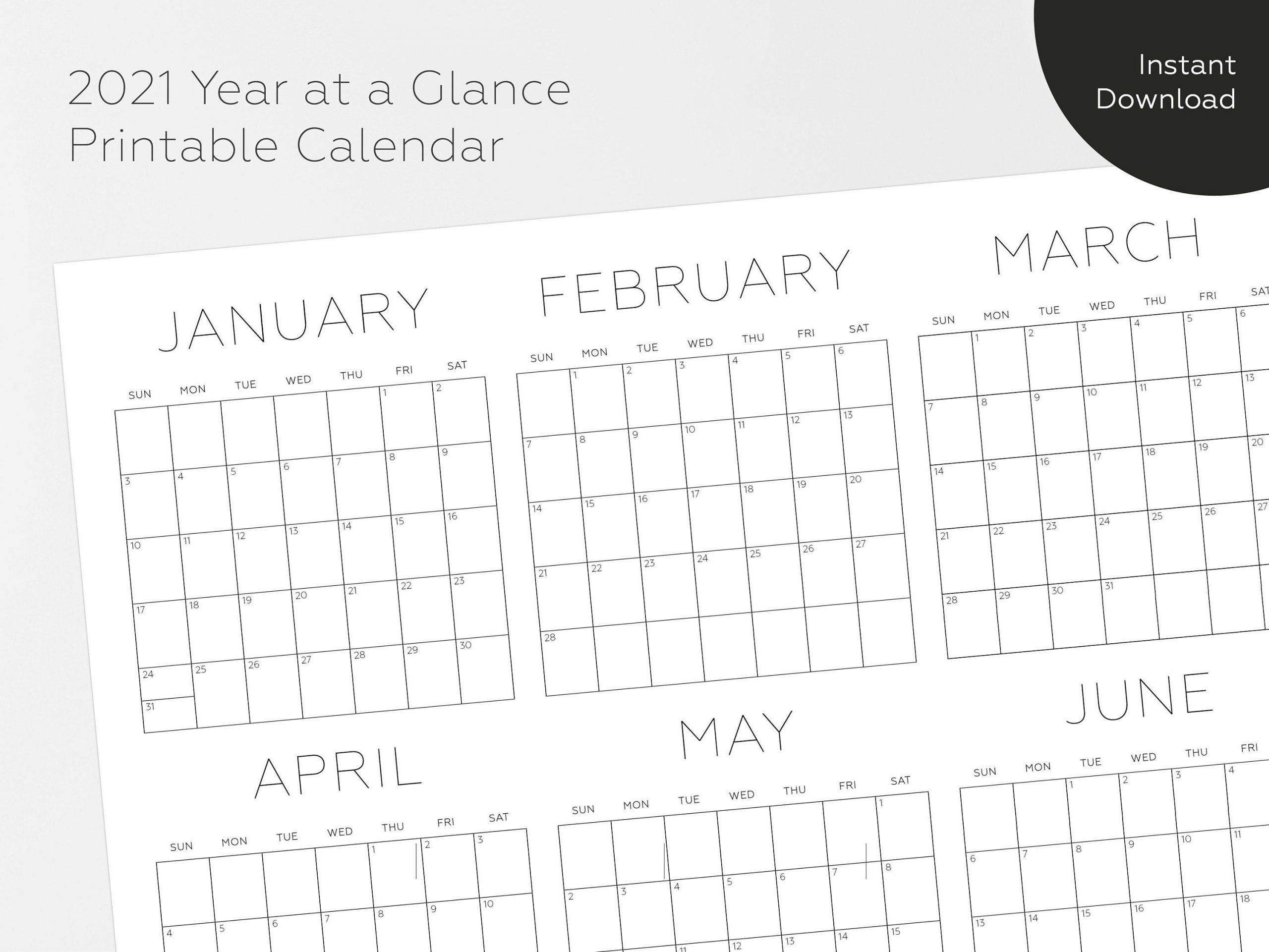 2021 Printable Calendar Year At A Glance Calendar 2021