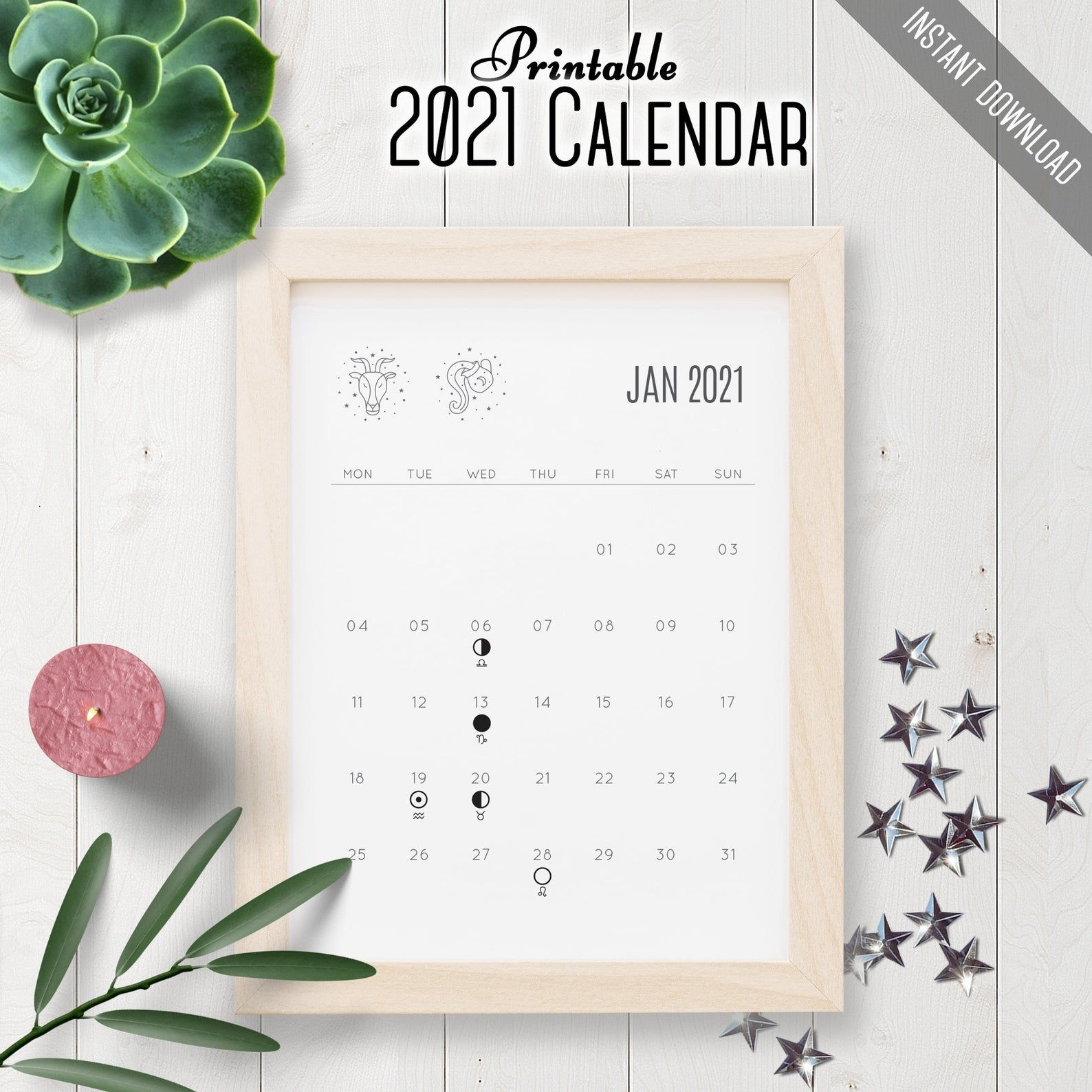 2021 printable calendar zodiac signs moon phases desk   etsy