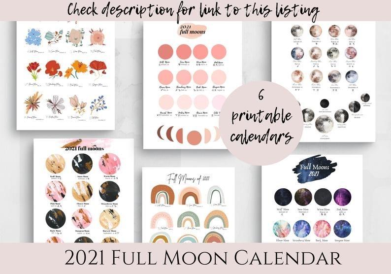 2021 Printable Full Moon Calendar Lunar Zodiac Celestial