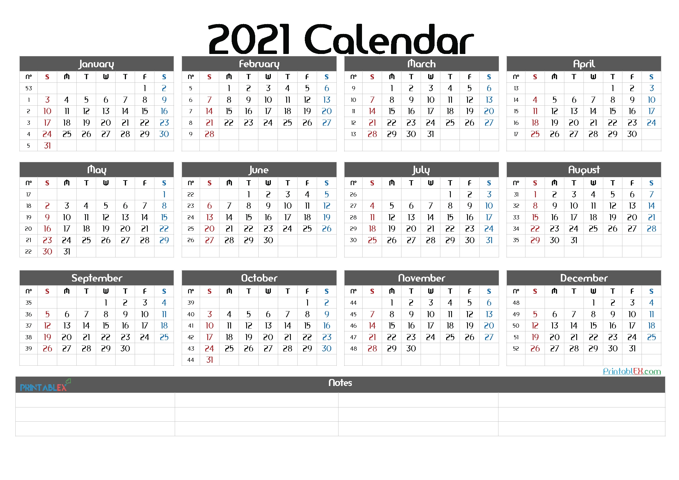 2021 printable yearly calendar with week numbers 21ytw73
