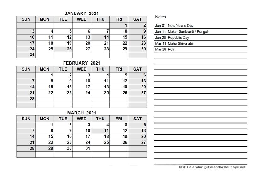 2021 Quarterly Template Calendarholidays