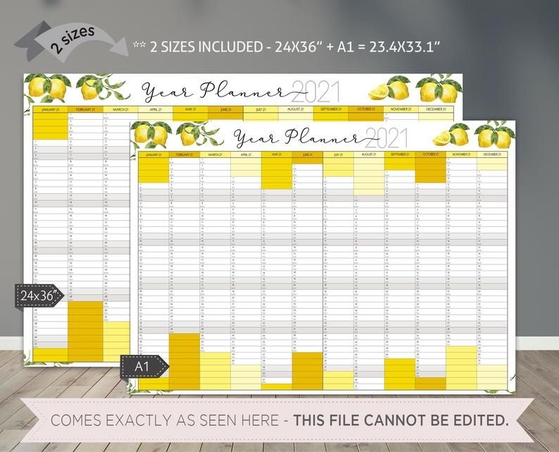 2021 Wall Calendar Printable/ Year At A Glance Planner To