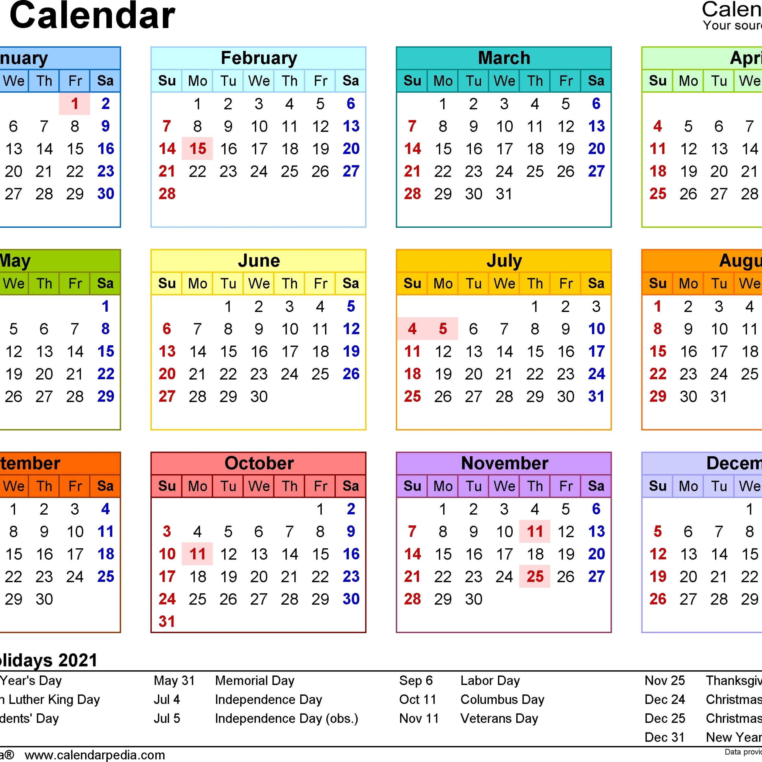 2021 Weekly Calendar Excel Free | Avnitasoni
