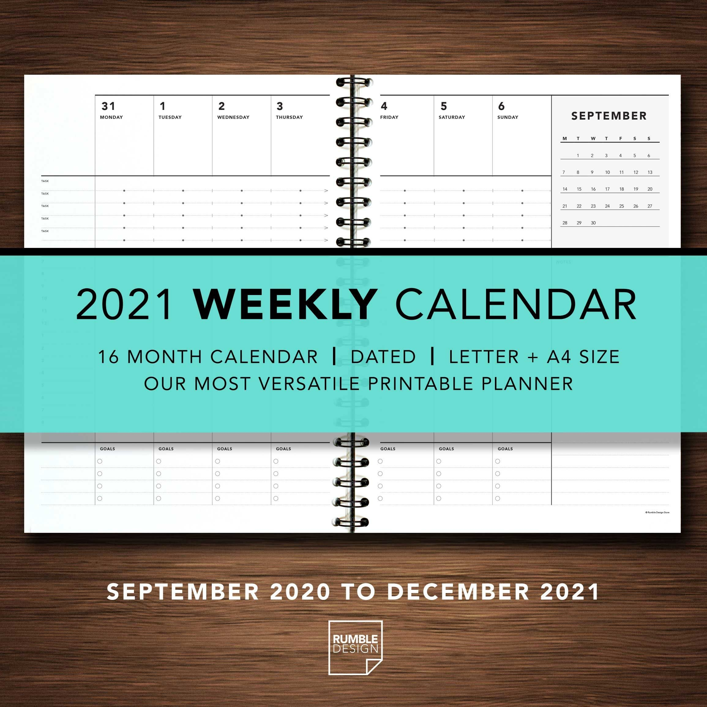 2021 Weekly Calendar | Rumble Design Store