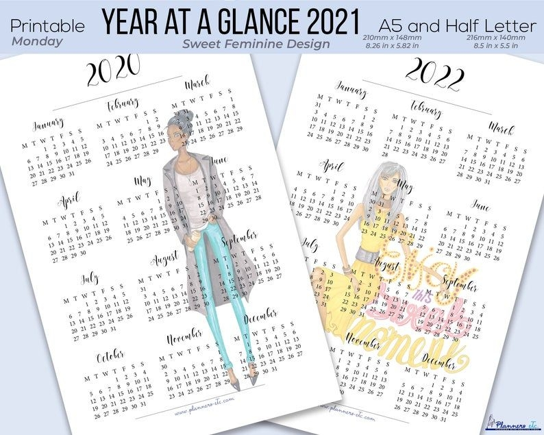 2021 Year At A Glance Printable 2021 Calendar Yearly