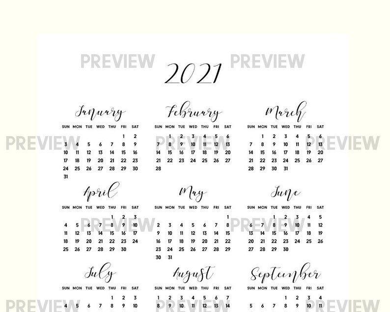 2021 year at a glance printable calendar pdf 2021 calendar