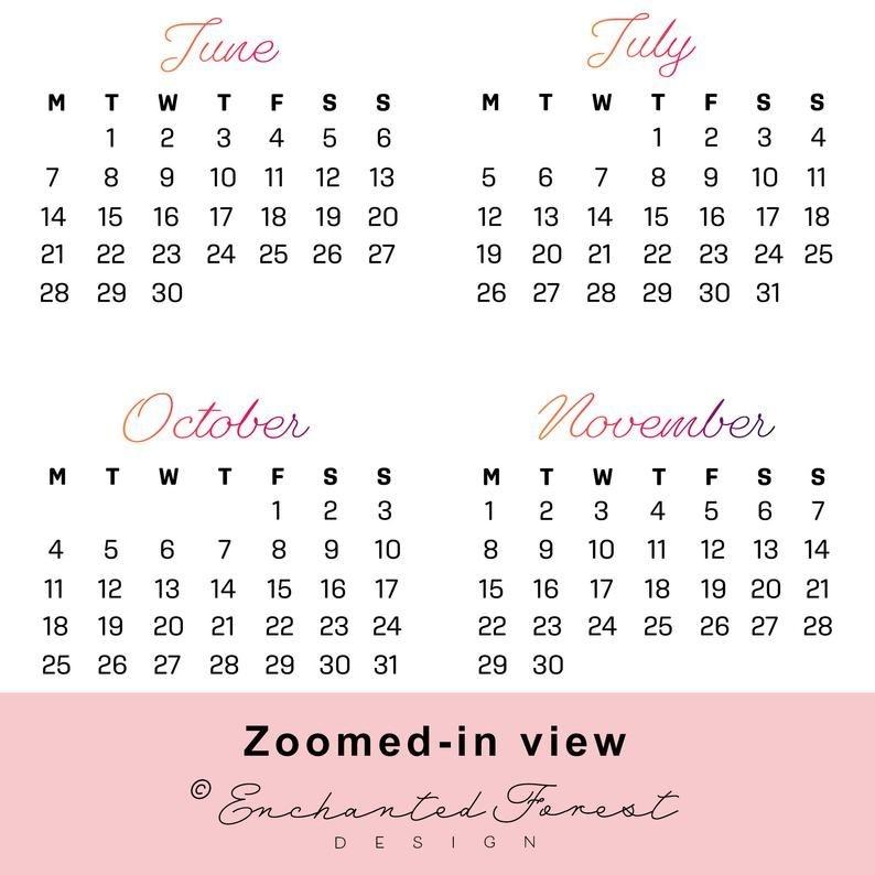 2021 Year At A Glance Printable Wall Calendar Page | Etsy