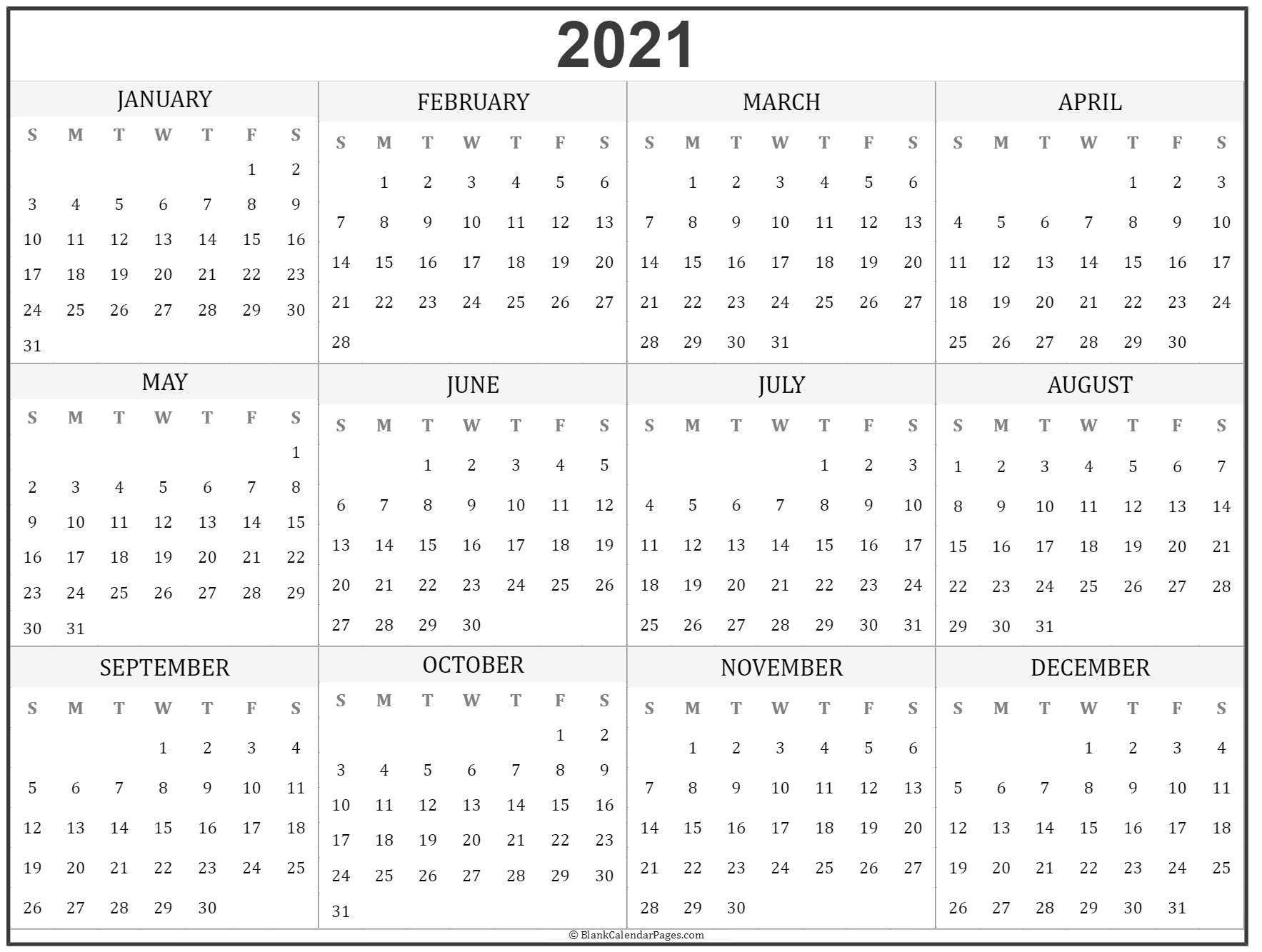 2021 year calendar   yearly printable