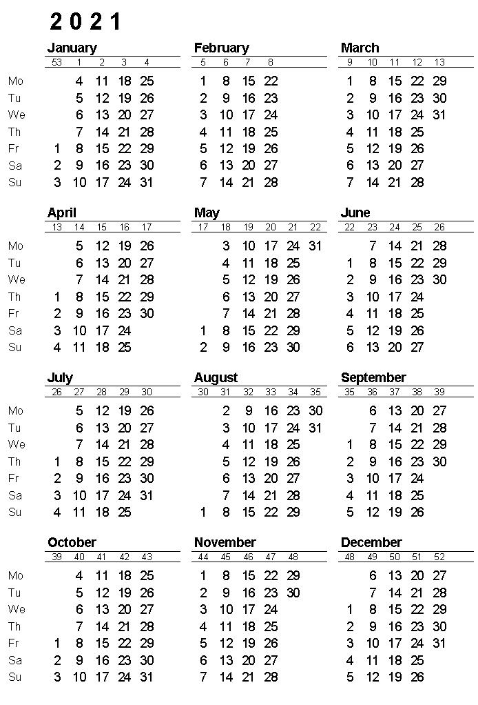 2021 Yearly Calendar Printable | Calendar 2021