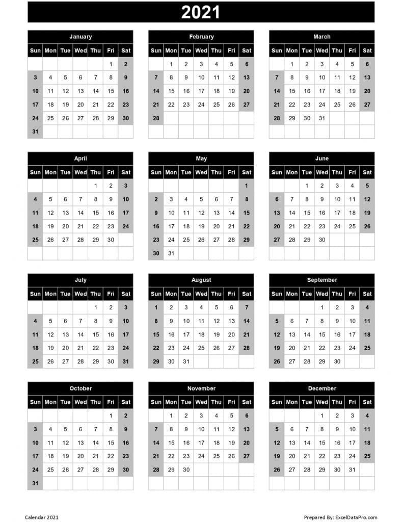 2021 yearly calendar with week number printable | ten free