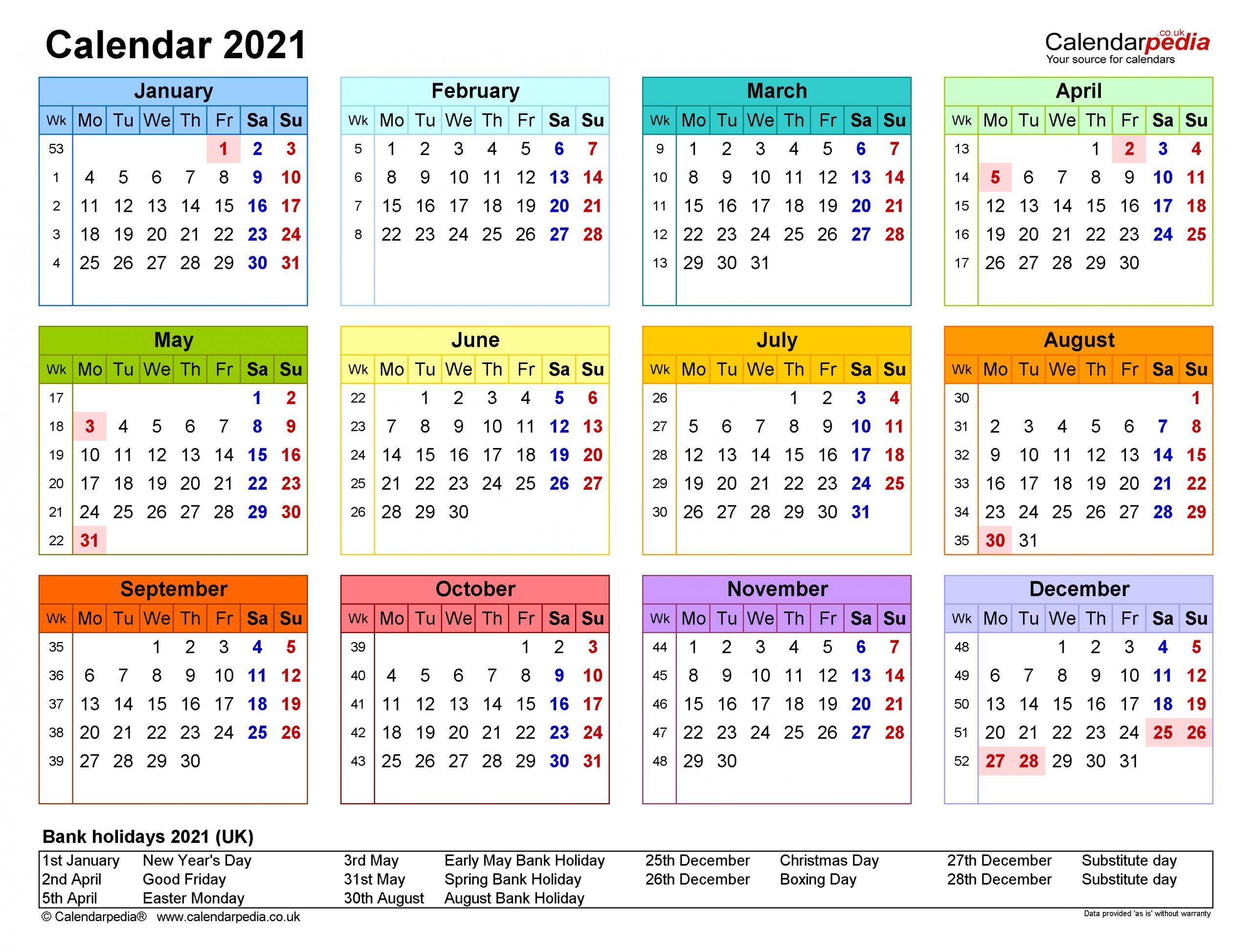 2021 yearly calendar with week numbers
