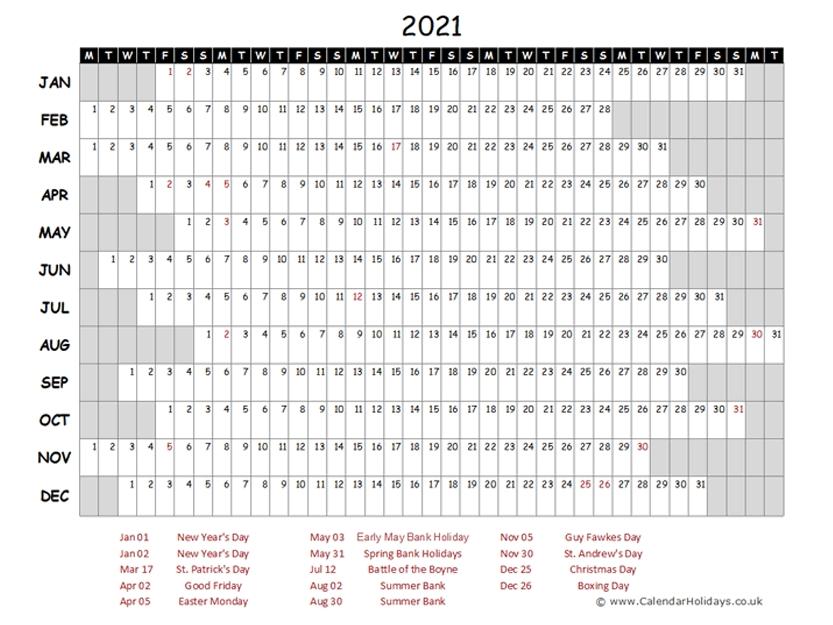 2021 Yearly Template Calendarholidays Co Uk