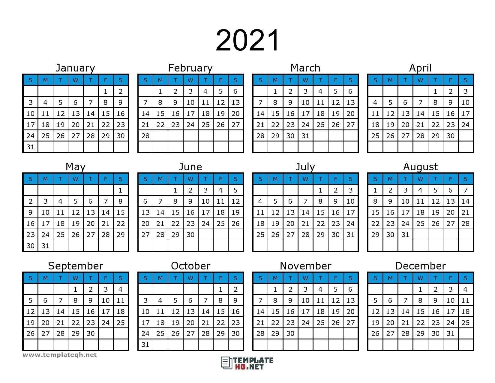 2021 Yearly Write In Calendars | Month Calendar Printable