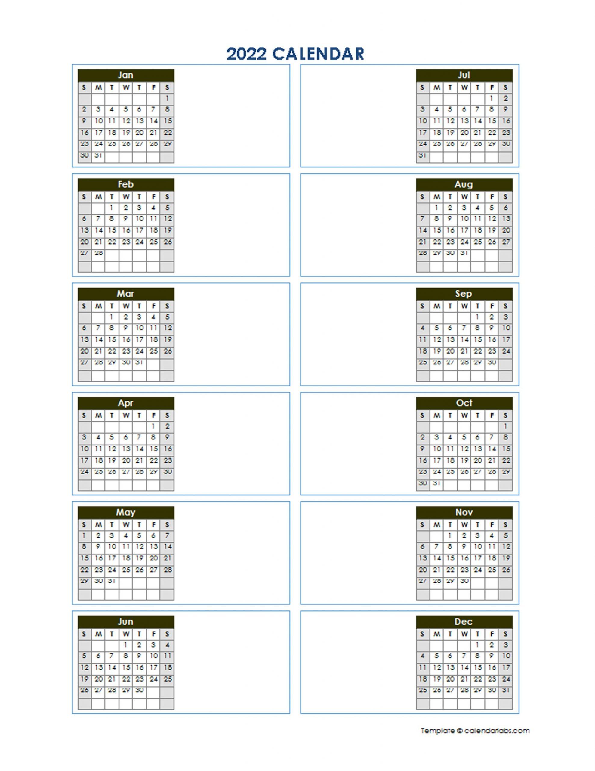 2022 Blank Yearly Calendar Template Vertical Design Free