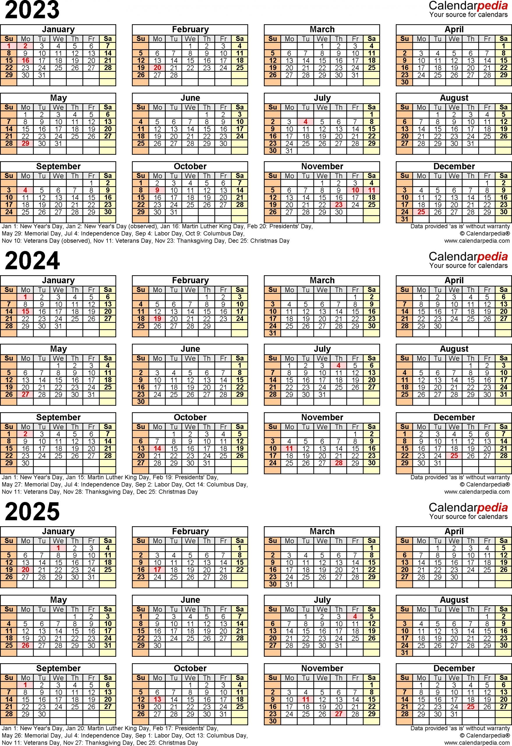 2023 2025 Three Year Calendar Free Printable Pdf Templates