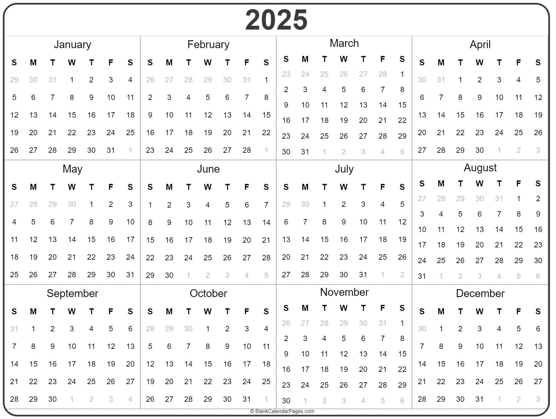 2025 Year Calendar | Yearly Printable