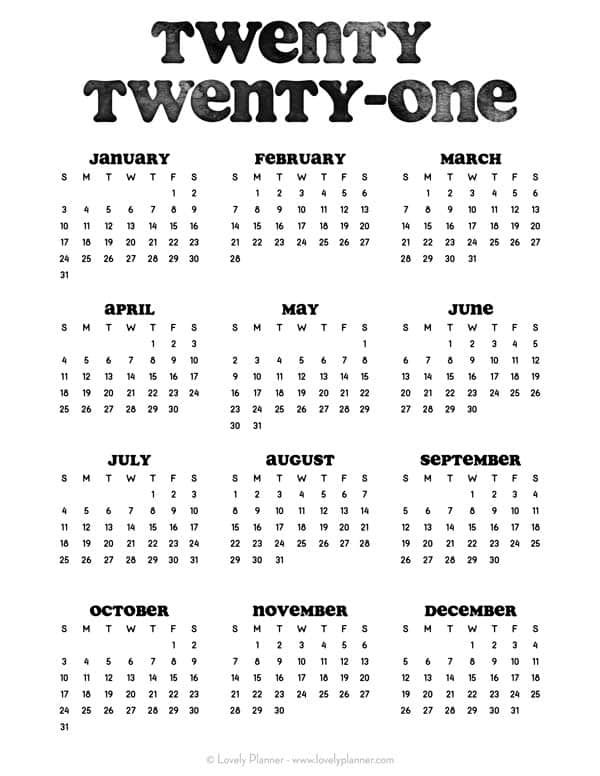 24 Pretty (& Free) Printable One Page Calendars For 2021