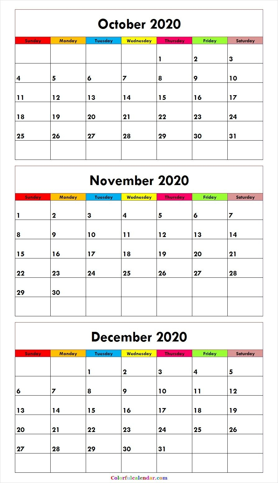 3 Month Calendar October November December 2020 | Free