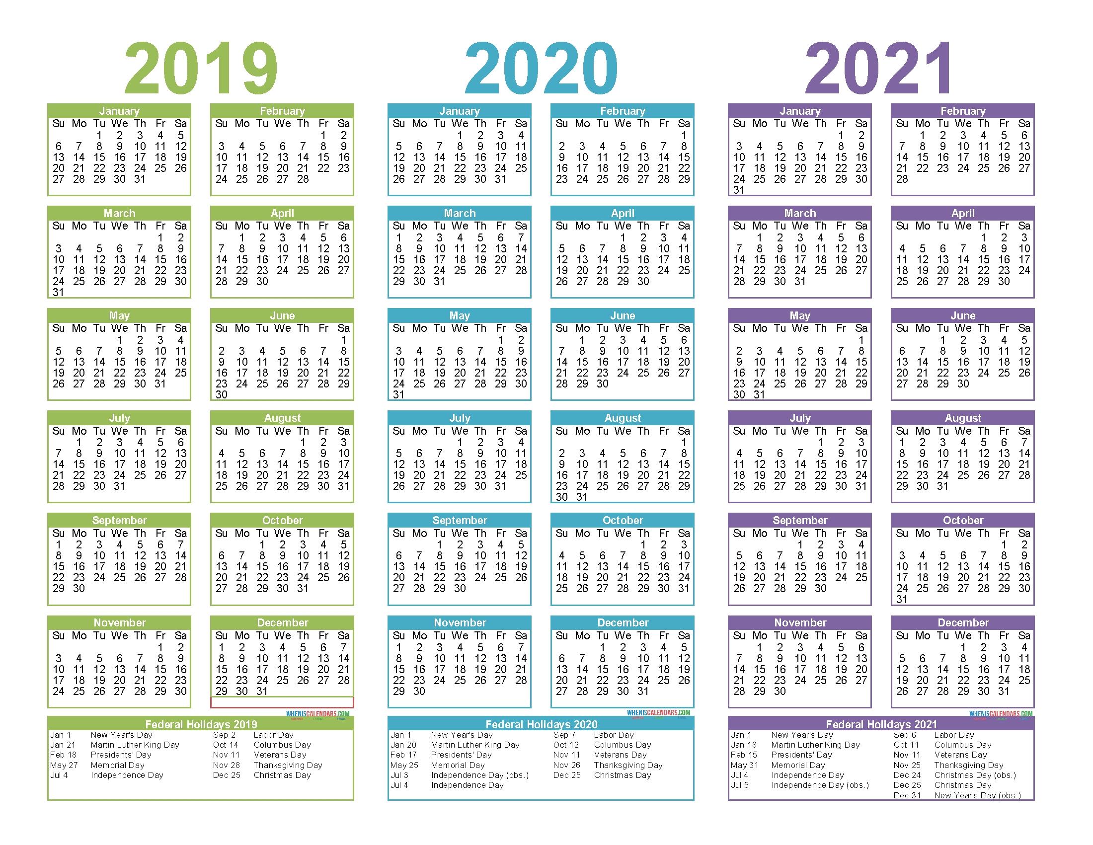 3 Year Calendar 2020 To 2020 | Calendar Printables Free