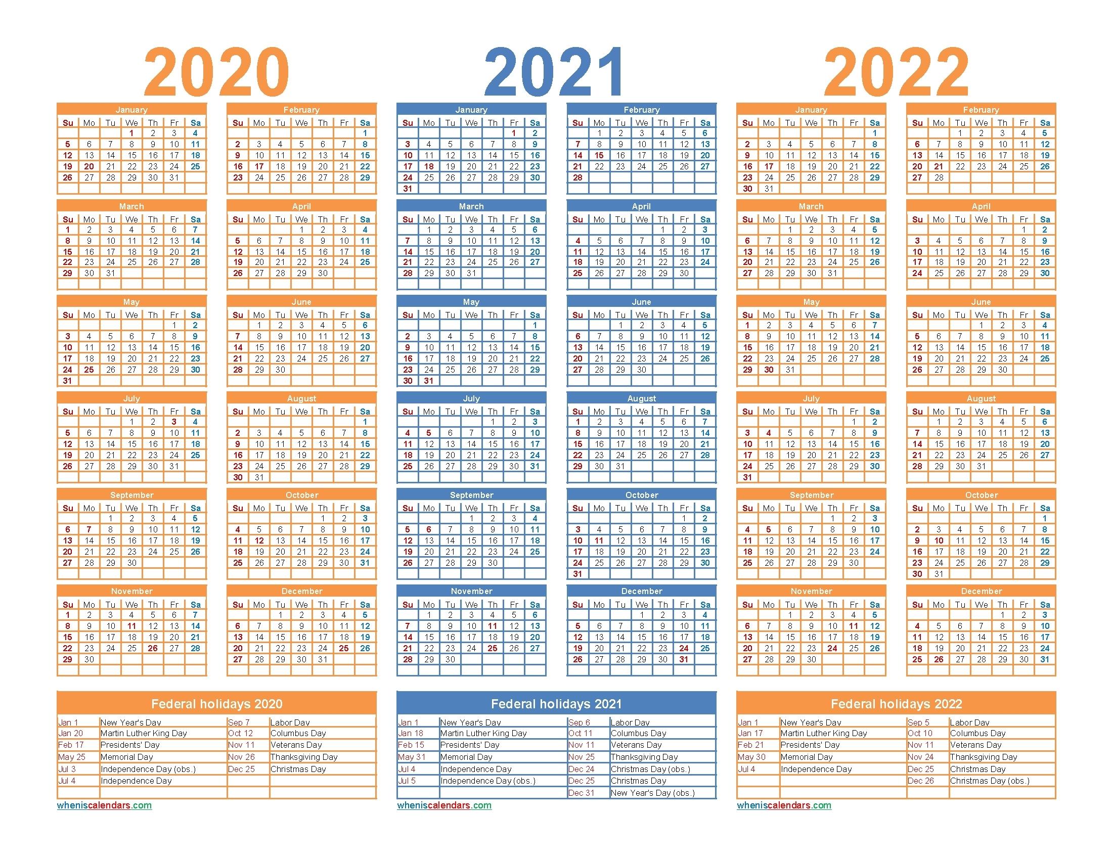 3 Year Calendar 2021 To 2023 | Ten Free Printable Calendar