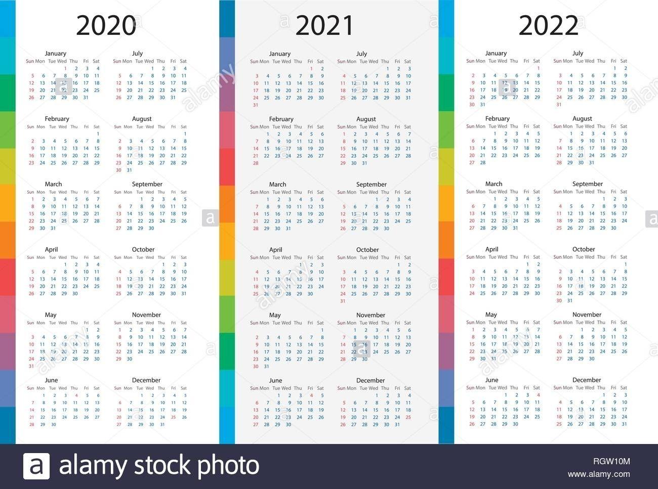 4 Year Calendar 2020 To 2022 | Month Calendar Printable