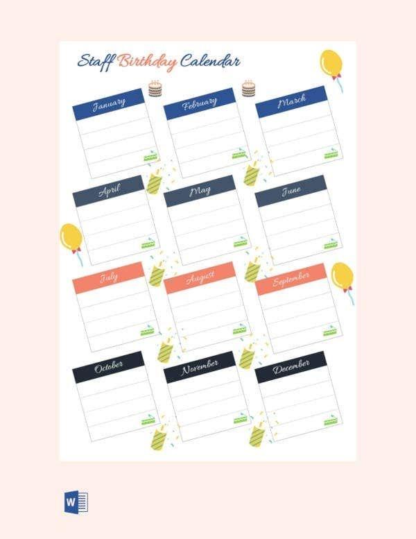 43 birthday calendar templates psd, pdf, excel | free
