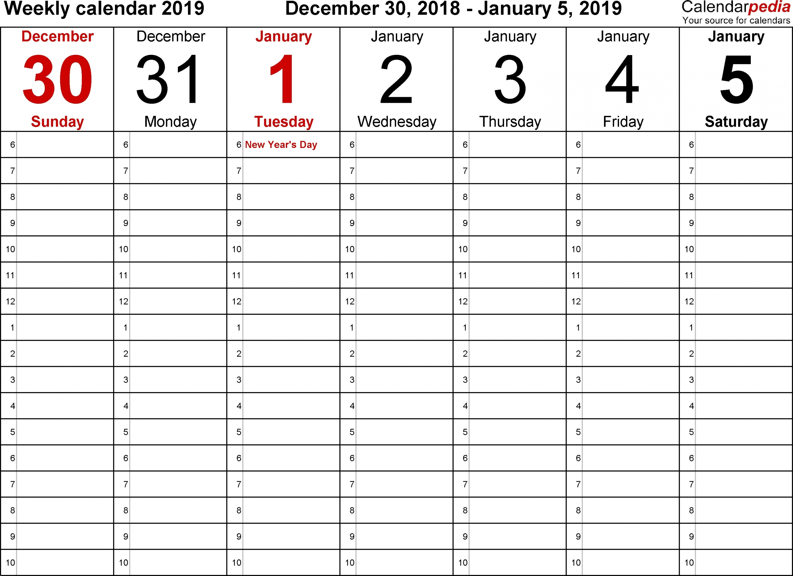 5 day week blank calendar with time slots printable