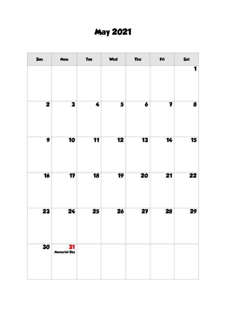 52 may 2021 calendar printable, may 2021 calendar pdf