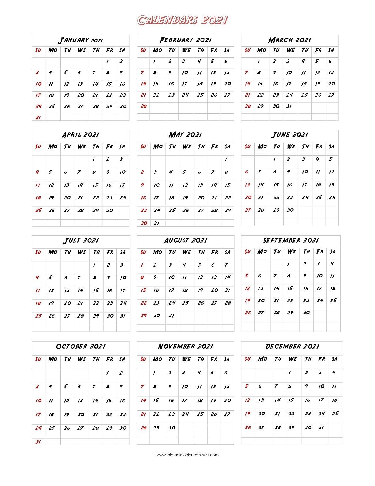56 Printable Calendar 2021 One Page, Us 2021 Calendar