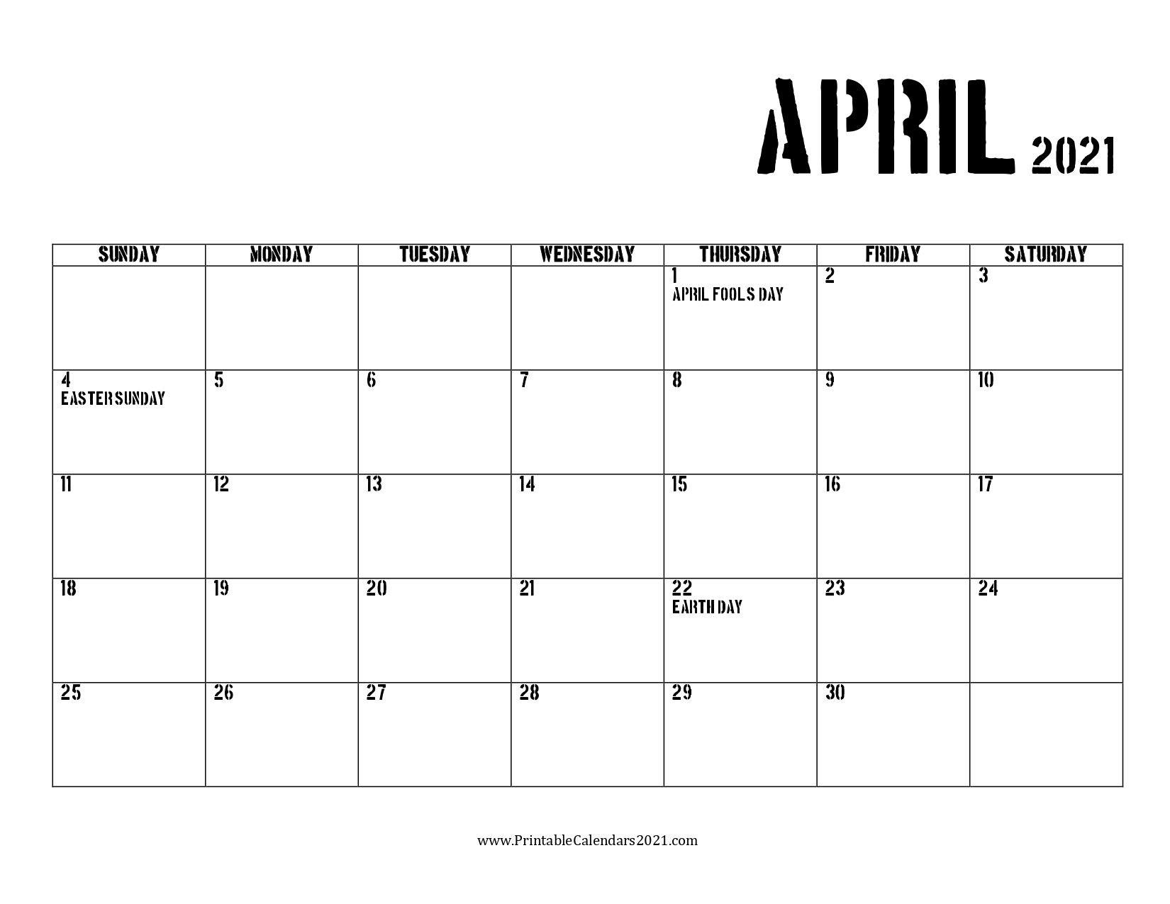 65 april 2021 calendar printable with holidays, blank