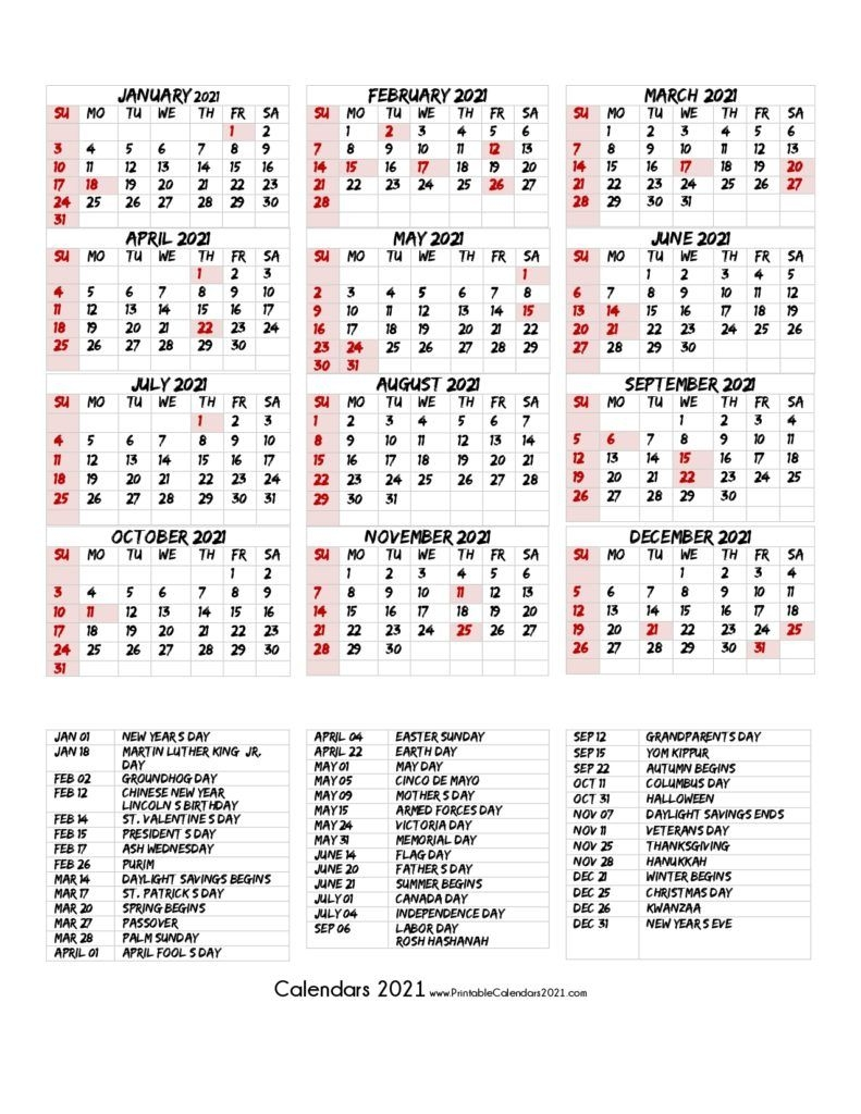 68 Design Printable 2021 Calendar One Page With Holidays