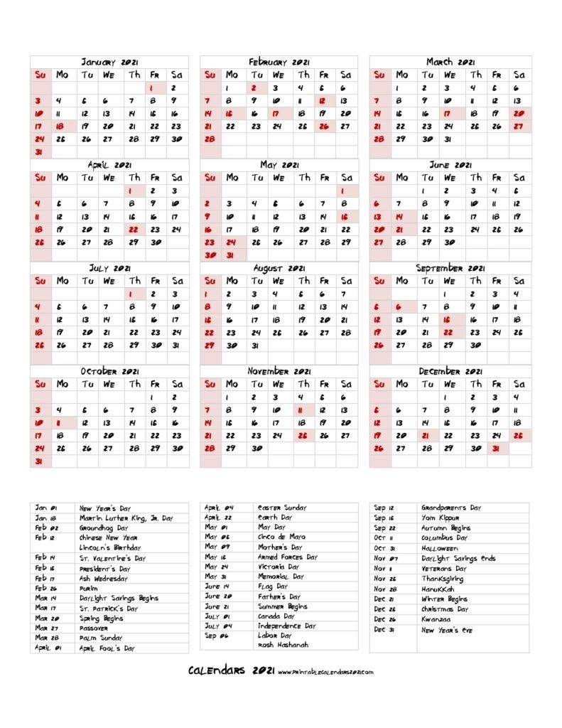 68 printable 2021 yearly calendar with holidays, portrait