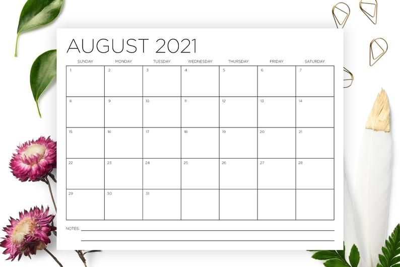 8 5 X 11 Inch 2021 Calendar Template Instant Download | Etsy