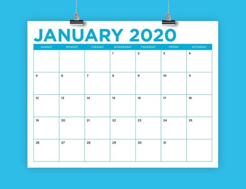 8 5 x 11 inch color 2020 calendar template instant