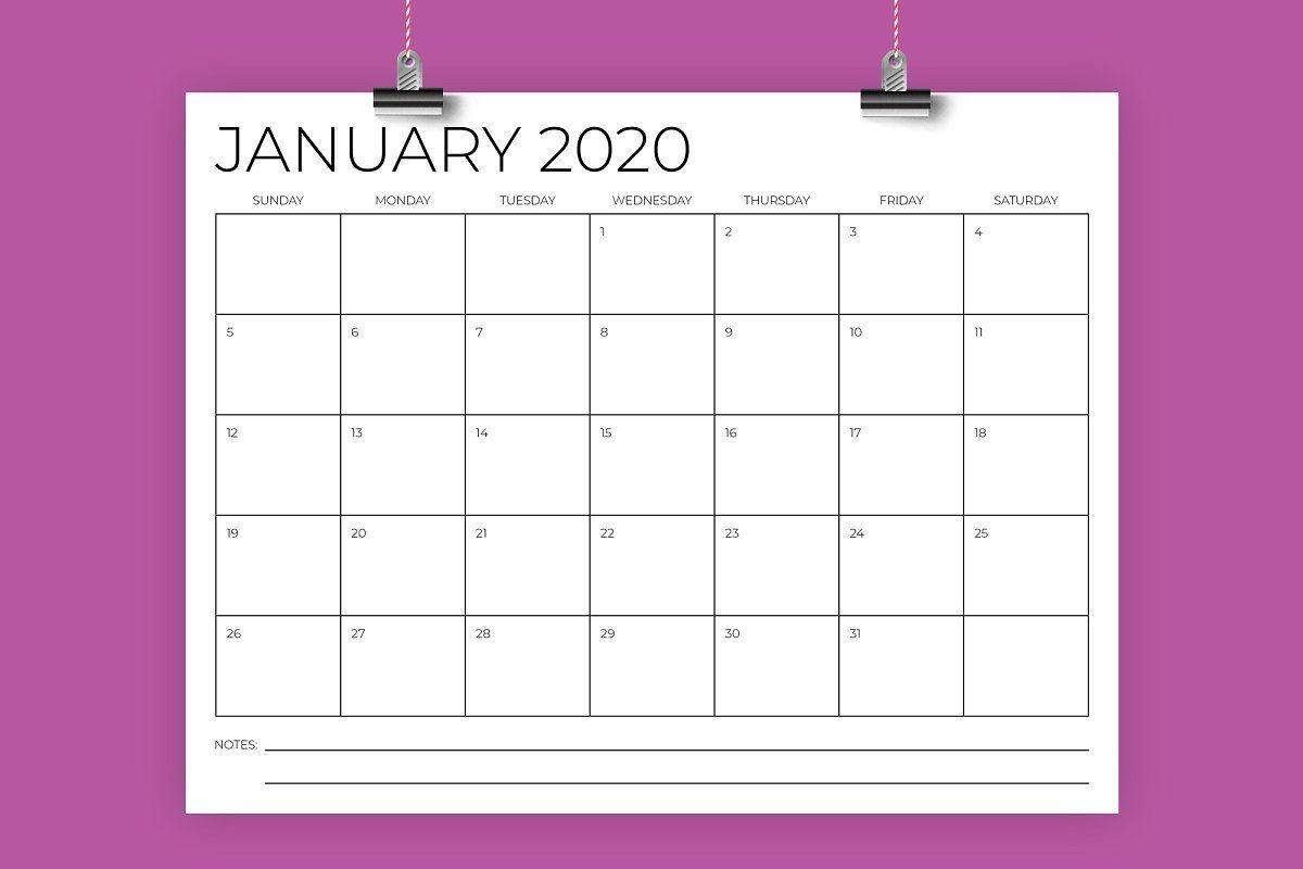8 5 x 11 inch minimal 2020 calendar | calendar template