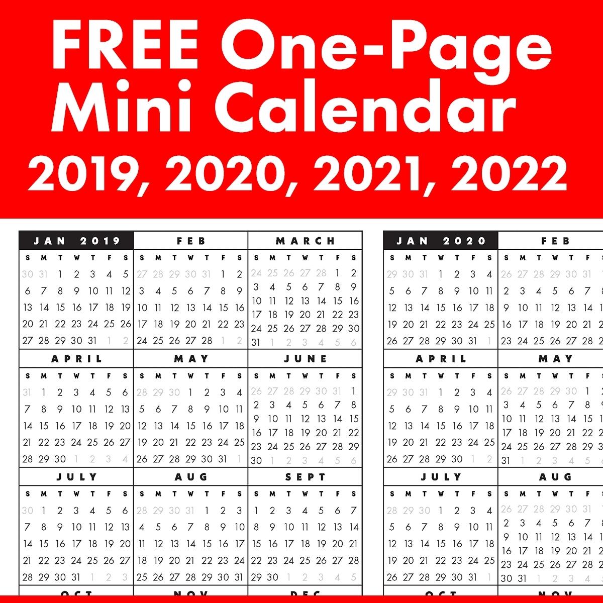 8 5 x 11 printable 2020 calendar at a glance calendar