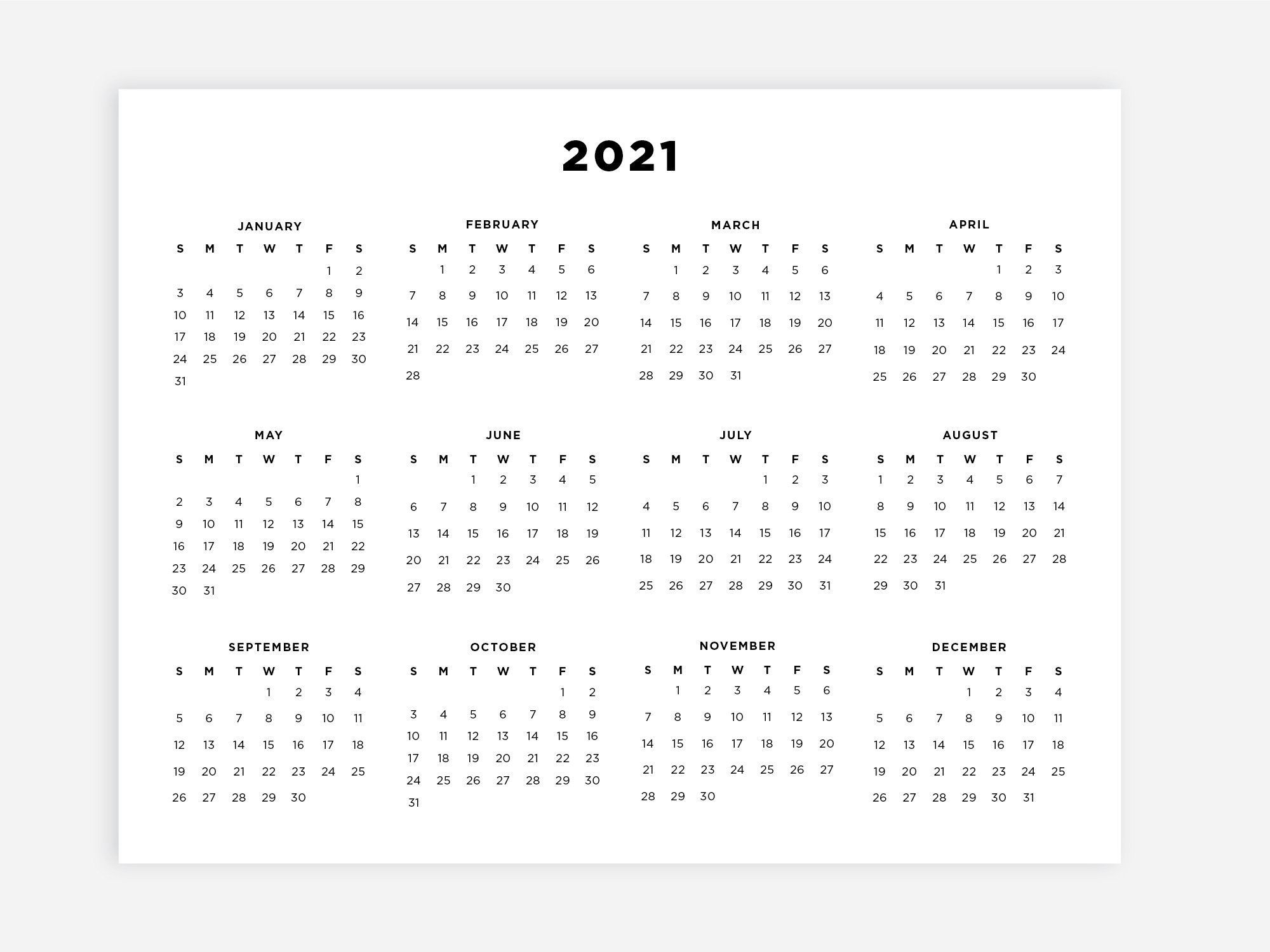 8 5×11 Printable 2021 Calendar, Letter Calendar, 2021 Year