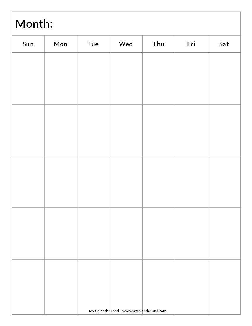 8×10 Printable Monthly Calendar Example Calendar Printable