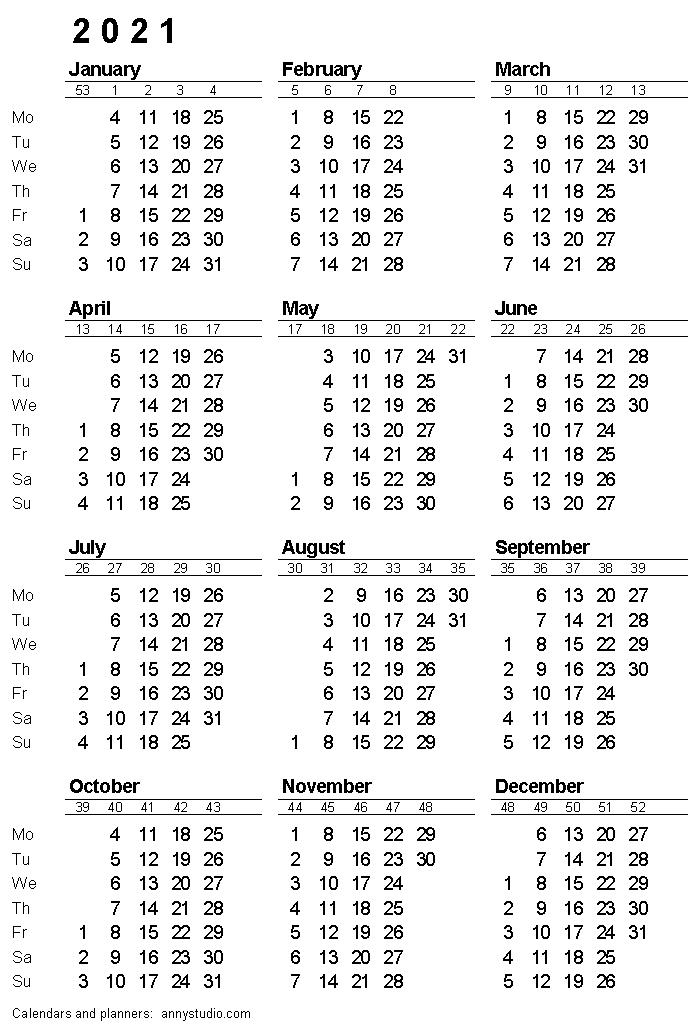 A5 Printable Calendar 2021