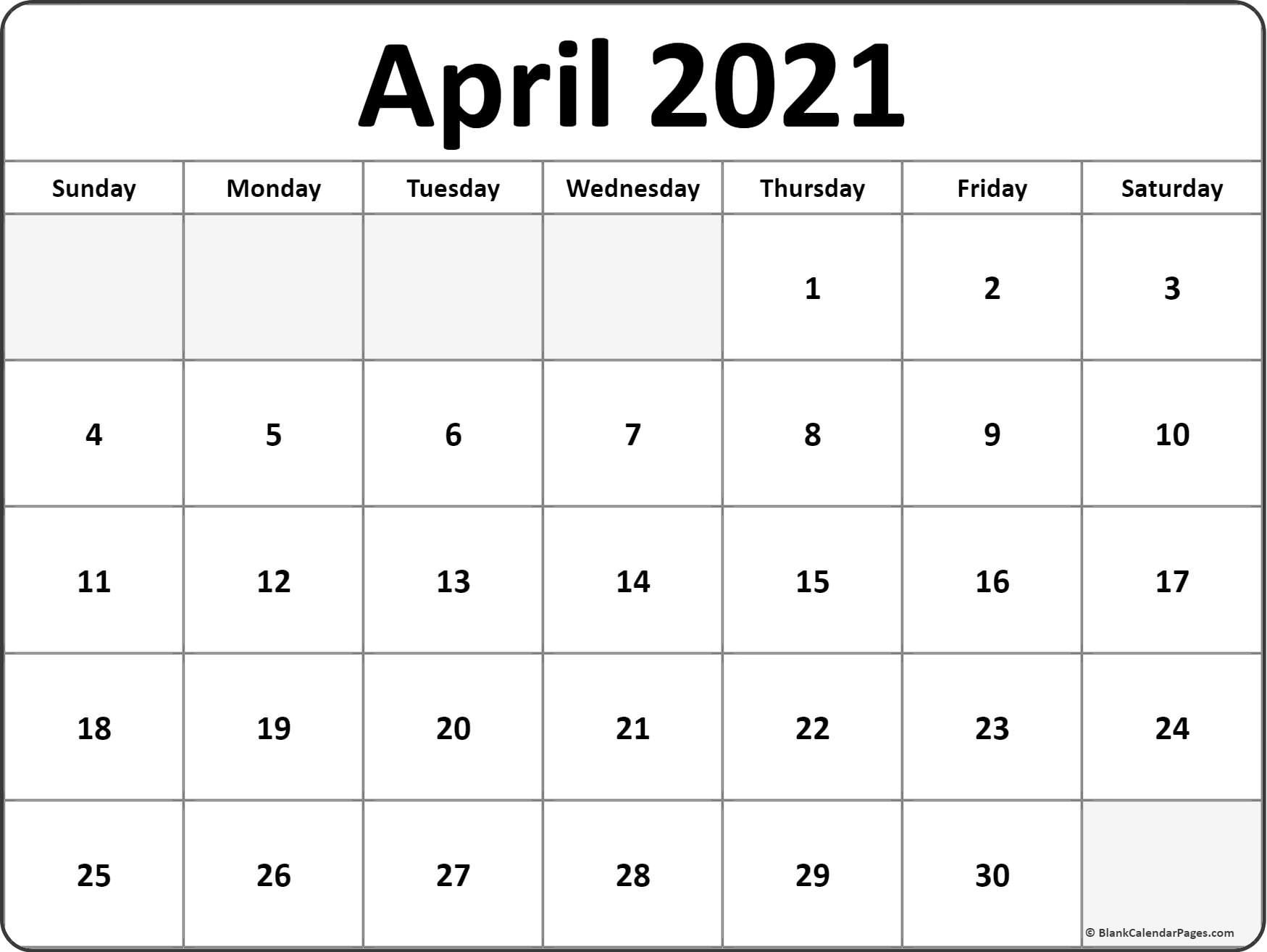 April 2021 Calendar Free Printable Monthly Calendars 3