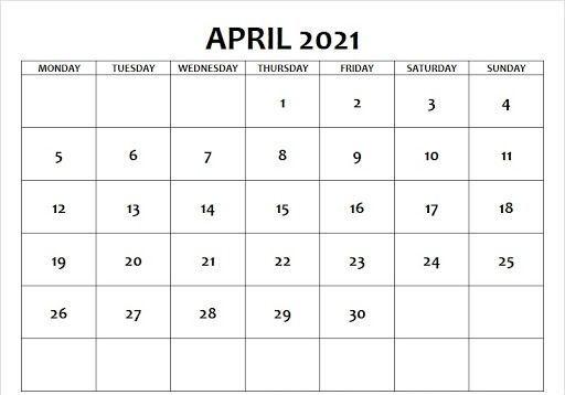april 2021 calendar pdf, word, excel templates in 2020
