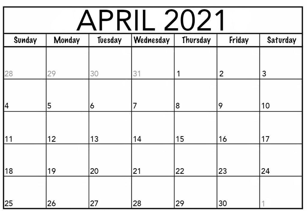 April 2021 Printable Calendar Pdf Monthly Worksheets One
