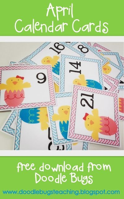 april calendar cards: free printable   preschool calendar