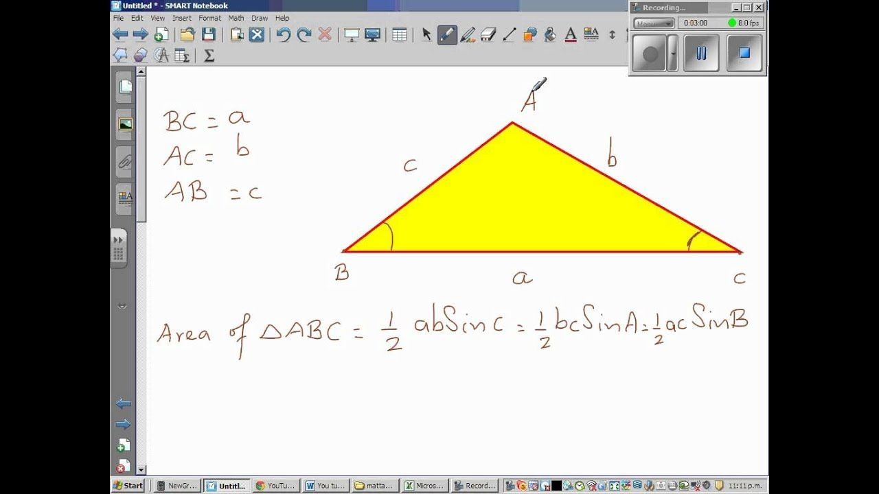 area of a triangle = 1/2 x absin(c) youtube
