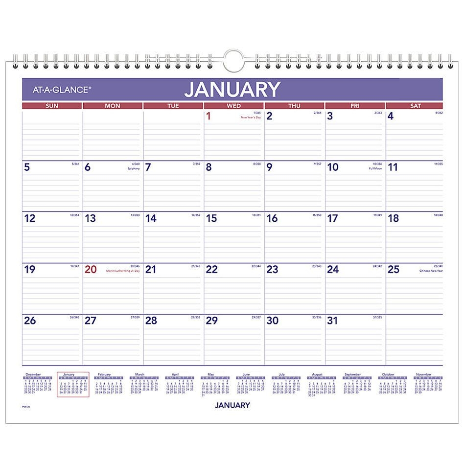 """At A Glance Pm828 12"""" X 15"""" Blue / Red Monthly January"""