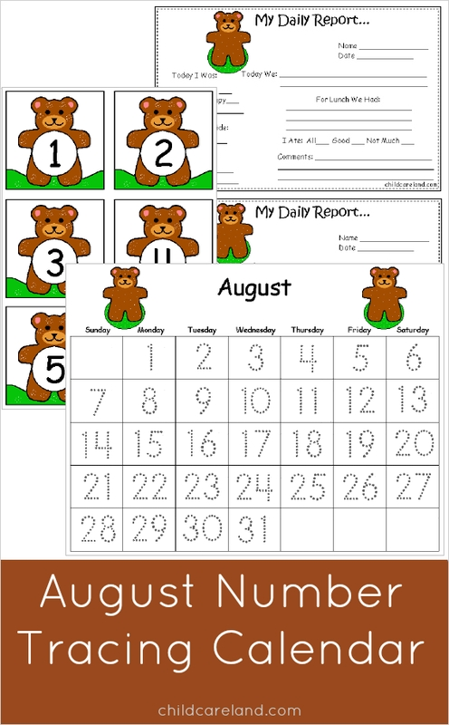 august number tracing calendar