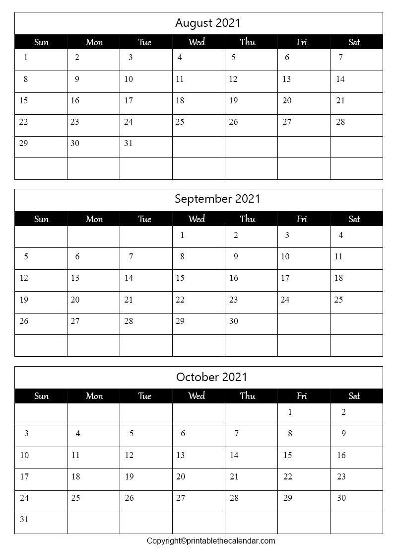August September October 2021 Calendar Pdf | Printable The