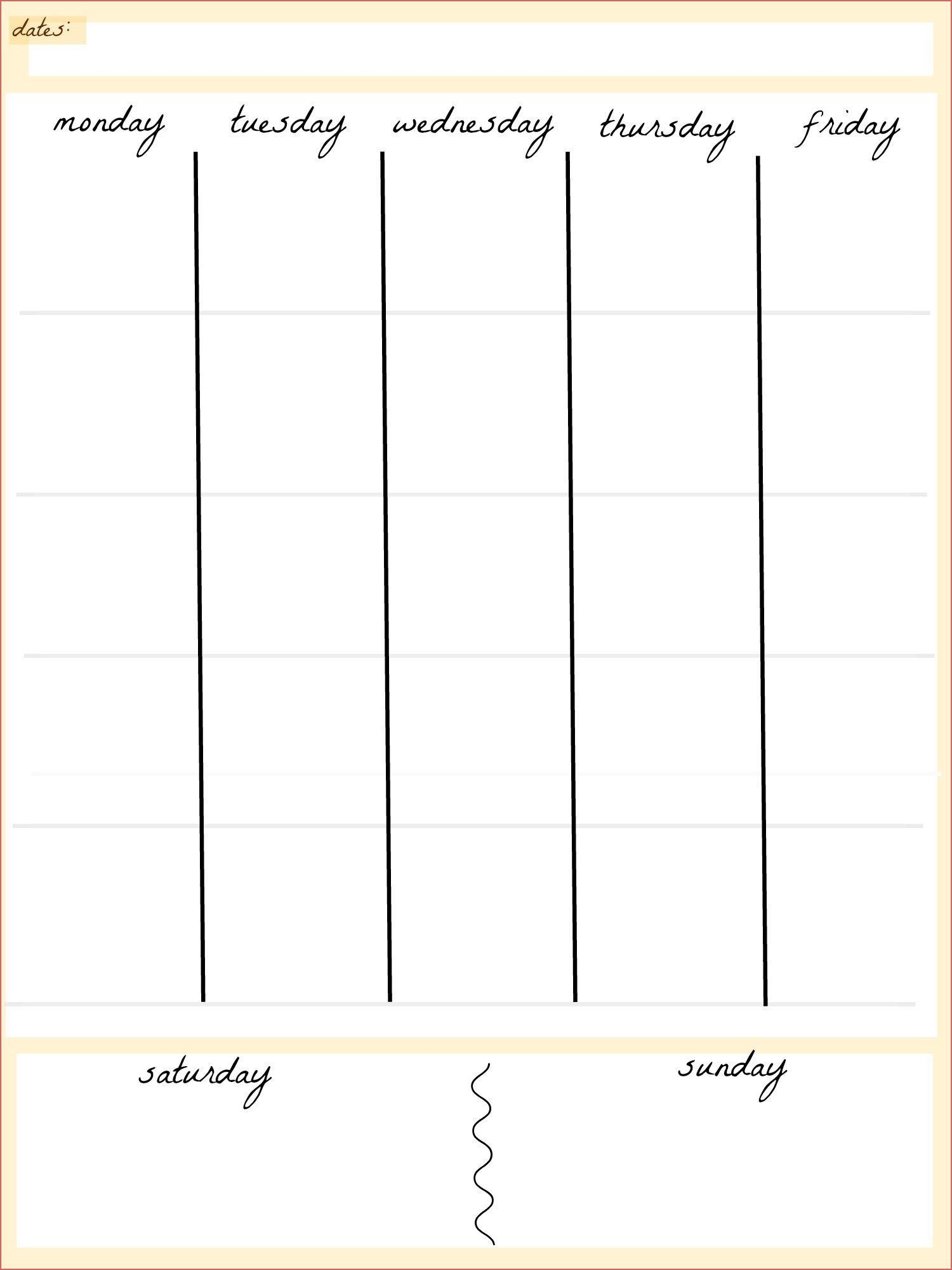 blank 5 day calendar printable calendar inspiration design
