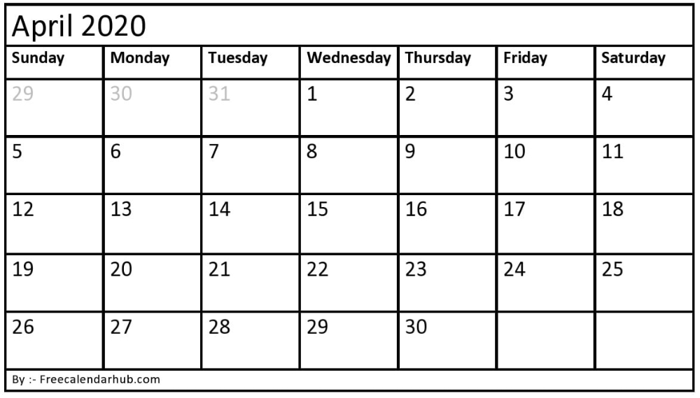 blank april 2020 calendar you can easily download, print