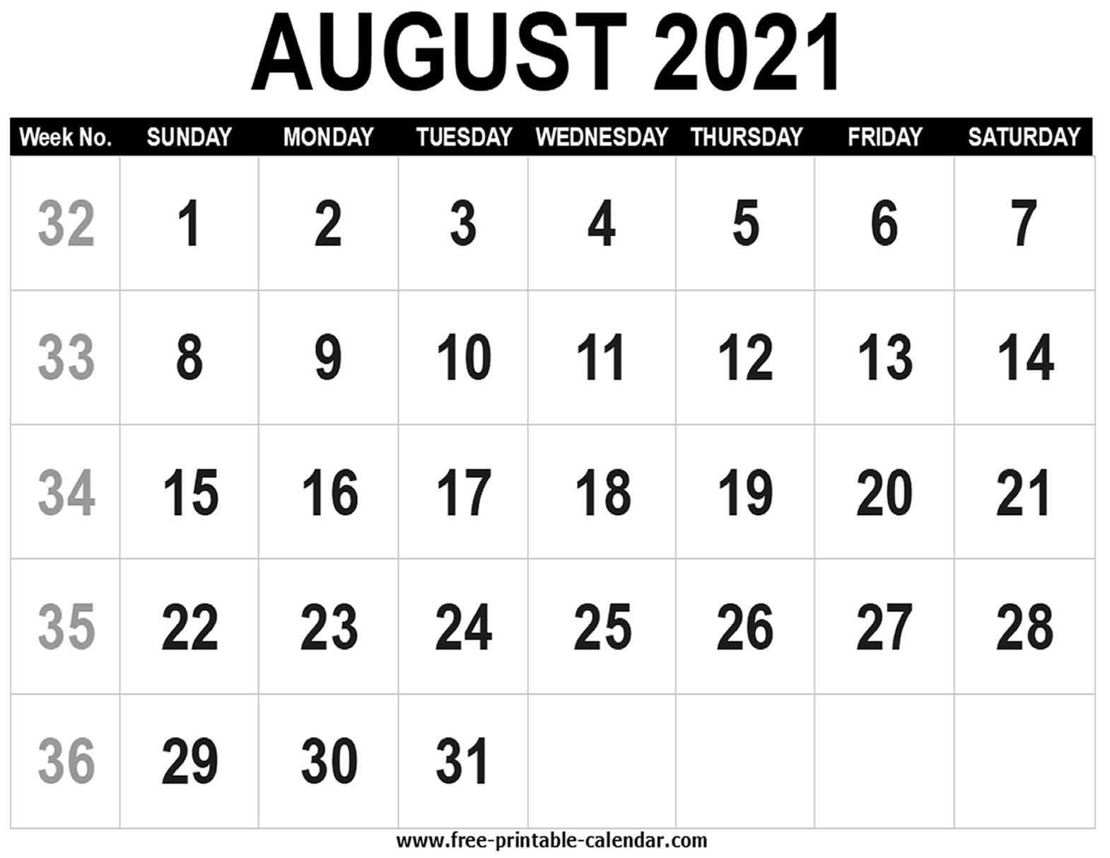 blank calendar 2021 august free printable calendar